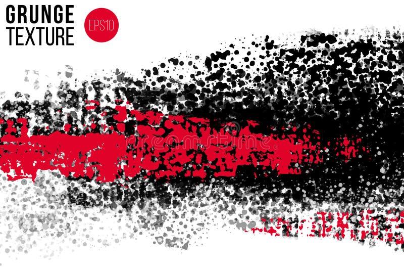 Wektorowa ręka rysować duże muśnięcie plamy Greyscale czarni i czerwienie malujący uderzenia Malujący szczotkarskimi plamami arty ilustracja wektor