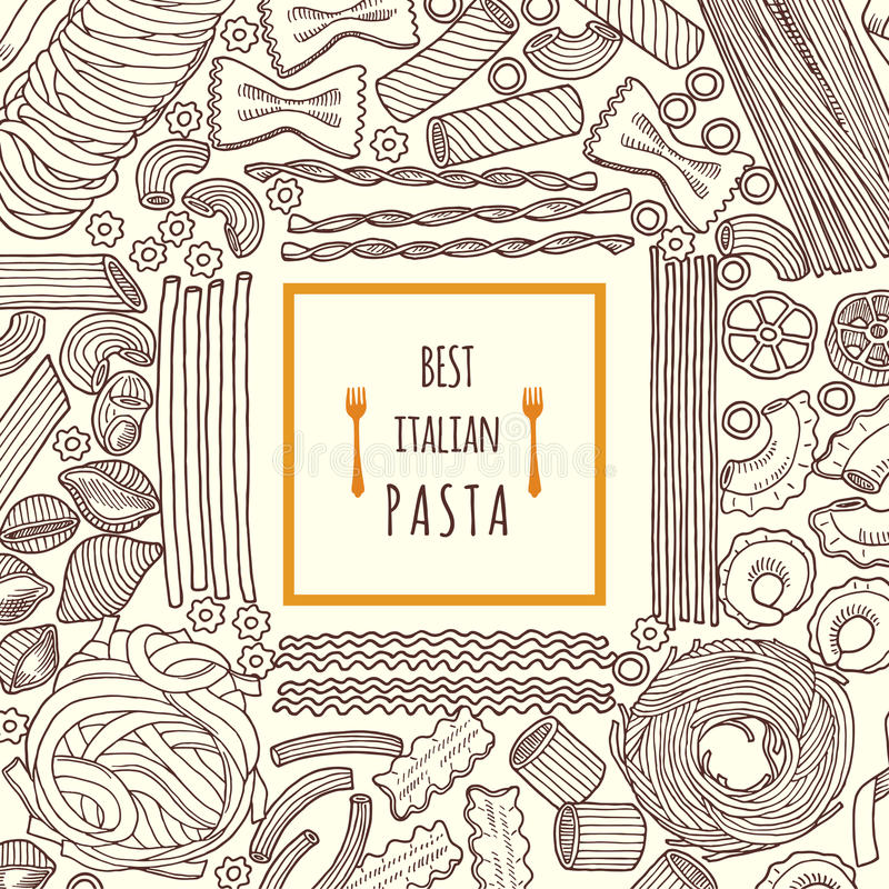 Wektorowa ręka rysować ilustracje jedzenie tradycyjny włoski makaron Tło menu ilustracja wektor