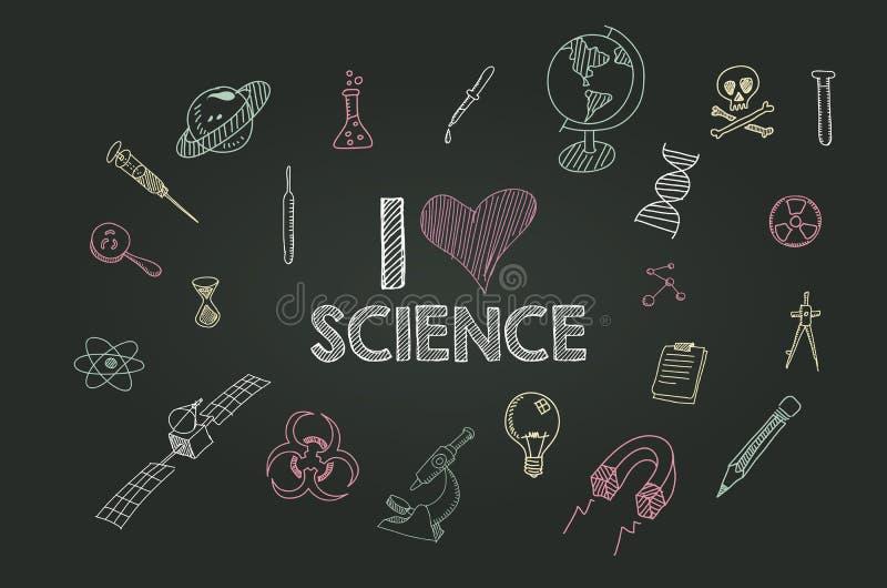 Wektorowa ręka rysować nauk ikony na blackboard ilustracja wektor