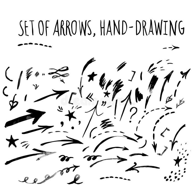 Wektorowa ręka rysować strzała ilustracja wektor