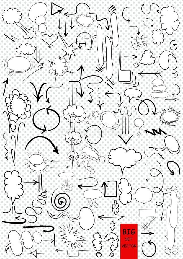 wektorowa ręka rysować strzała i komiczny puste miejsce ilustracja wektor