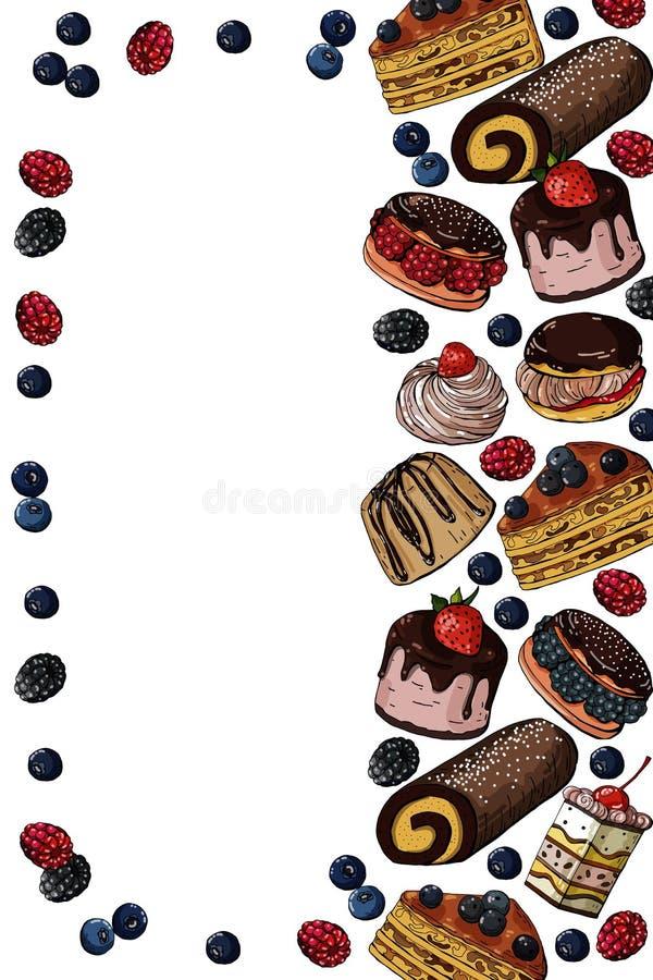 Wektorowa ręka rysująca barwiąca szablon ulotka z cukierkami zasycha na białym tle royalty ilustracja