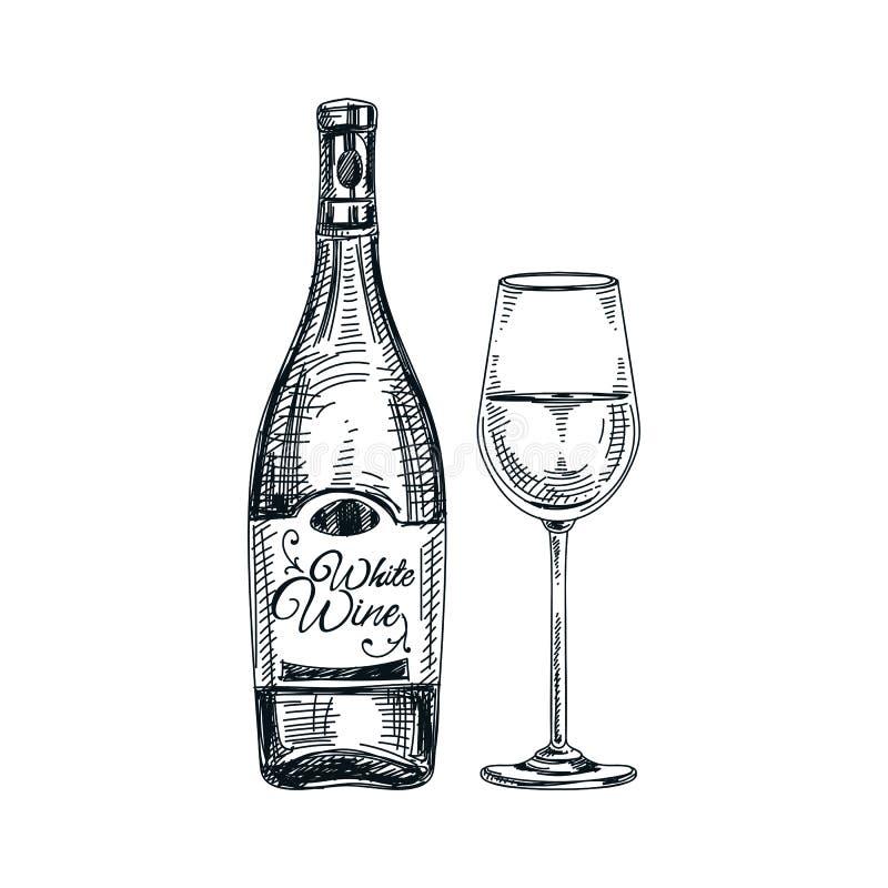 Wektorowa ręka rysująca butelka wino ilustracja i szkło ilustracja wektor
