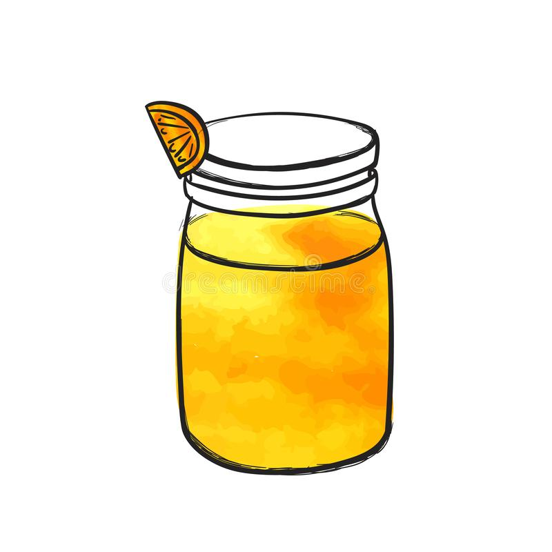 Wektorowa ręka Rysująca butelka z sokiem pomarańczowym, Smoothie szkło, akwarela Kolorowy rysunek Odizolowywający ilustracji
