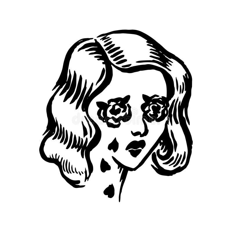 Wektorowa ręka rysująca czarna kolor starej szkoły tatuażu dziewczyny twarz na białym tle royalty ilustracja