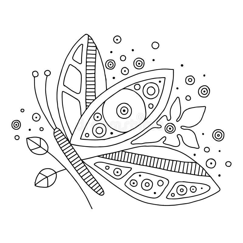 Wektorowa ręka rysująca czarny i biały ilustracja odosobniony motyl z dekoracyjnymi elementami, gałąź, opuszcza, kwiaty, kropki l royalty ilustracja
