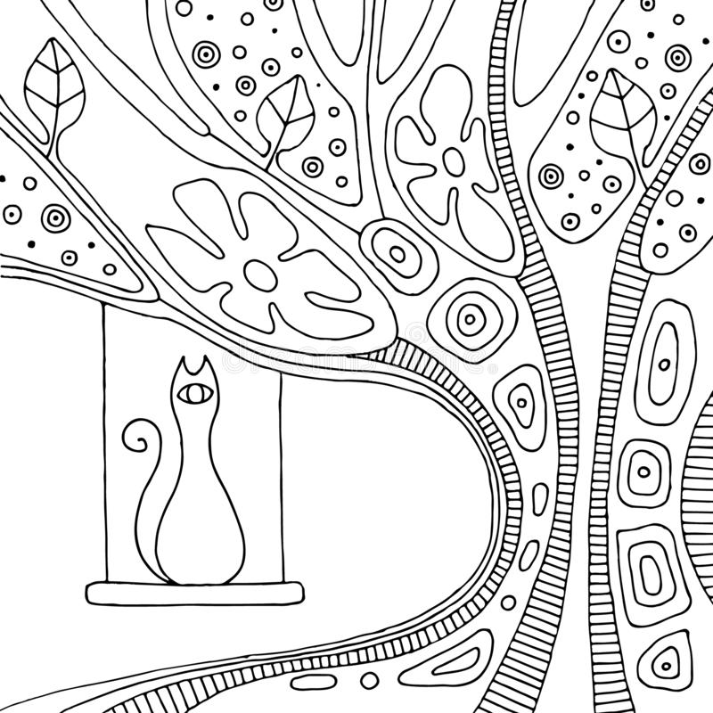 Wektorowa ręka rysująca czarny i biały ilustracja z dekoracyjnym psychodelicznym drzewem z gałąź, opuszcza, kwiaty, kropki i kot, ilustracja wektor