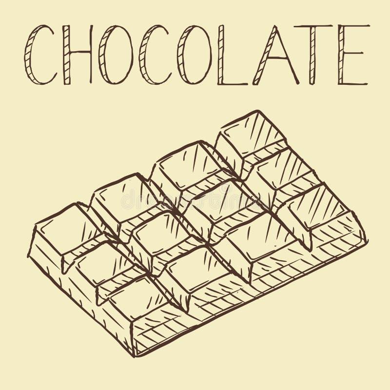 Wektorowa ręka rysująca czekolady linii ikona, kontur i wypełniający wektor, royalty ilustracja