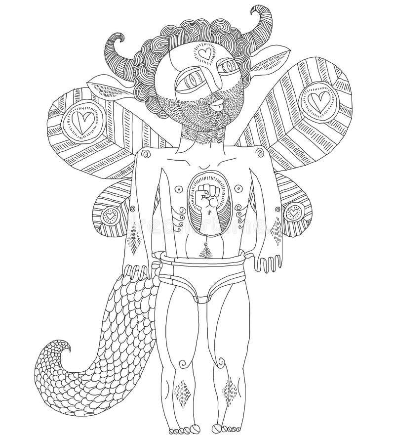 Wektorowa ręka rysująca graficzna ilustracja dziwaczna istota, fura ilustracji