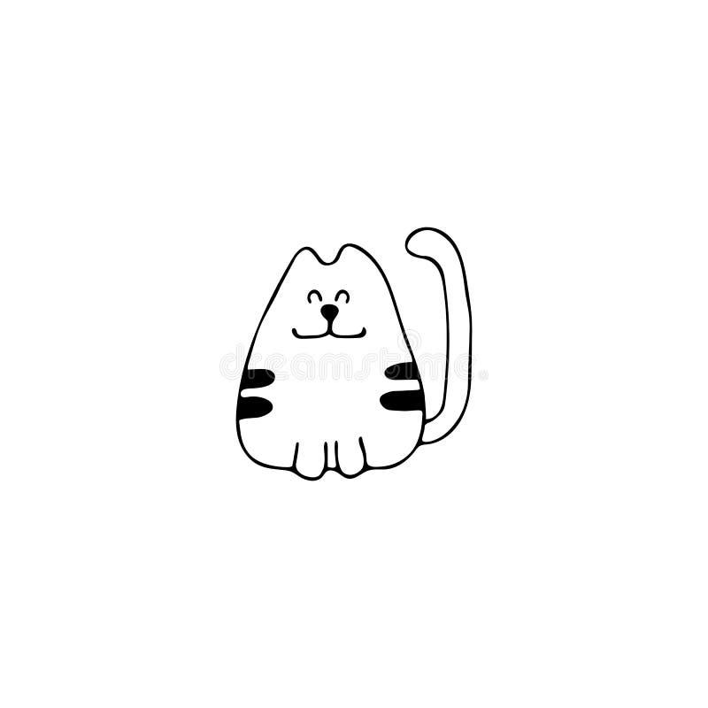 Wektorowa ręka rysująca ikona, głowa szczęśliwy kot Logo element dla zwierzę domowe powiązanego biznesu ilustracji