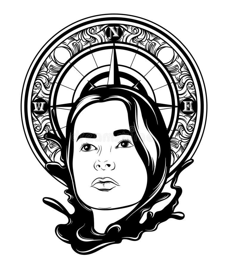 Wektorowa ręka rysująca ilustracja ładna kobieta z fala i rocznika kompasem ilustracja wektor