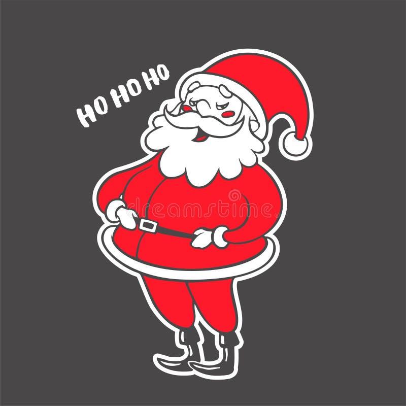 Wektorowa ręka rysująca ilustracja śmiać się Święty Mikołaj odizolowywał ilustracji