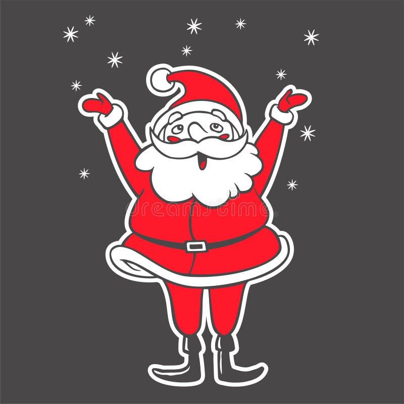Wektorowa ręka rysująca ilustracja Święty Mikołaj chwytający płatek śniegu ilustracji