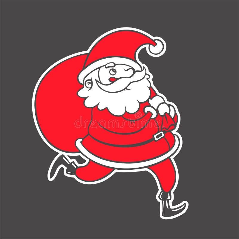 Wektorowa ręka rysująca ilustracja Święty Mikołaj chwytający płatek śniegu ilustracja wektor