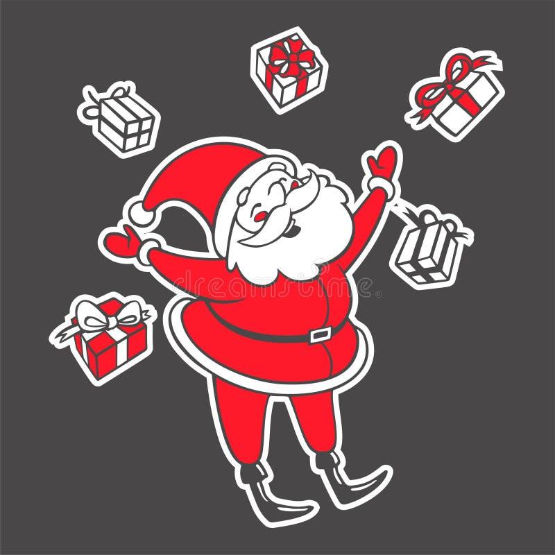 Wektorowa ręka rysująca ilustracja Święty Mikołaj z pudełek spadać ilustracji