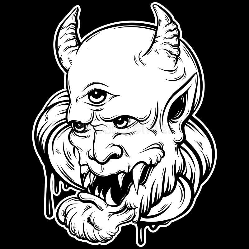 Wektorowa ręka rysująca ilustracja diabeł royalty ilustracja
