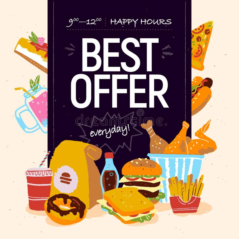 Wektorowa ręka rysująca ilustracja dla fast food oferty specjalnej cukiernianej reklamy lub sztandaru projekt z pizzą, pączek, so royalty ilustracja