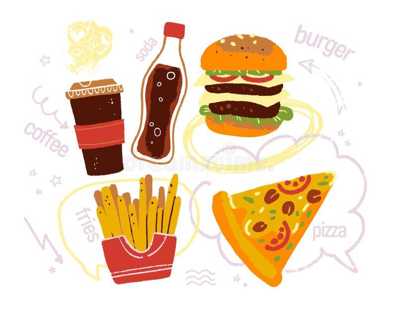 Wektorowa ręka rysująca ilustracja fast food pizza, dwoisty hamburger, kawa, soda, dłoniaki, doodle elementu teksta pudełko, strz ilustracji