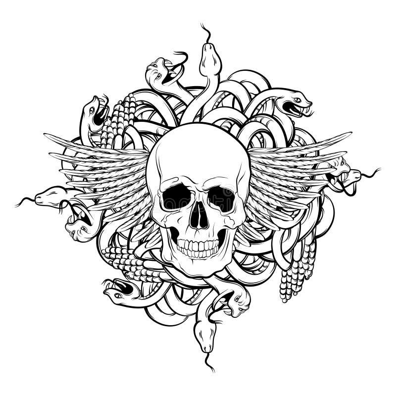 Wektorowa ręka rysująca ilustracja ludzka czaszka i wiązka węże ilustracji