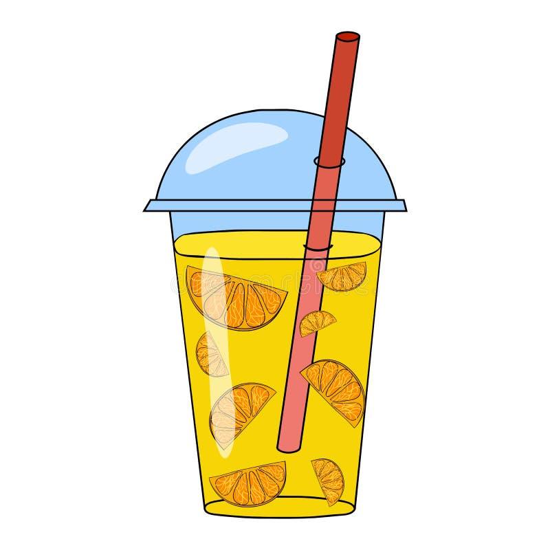 Wektorowa ręka rysująca ilustracja pomarańczowy smoothie w szkle royalty ilustracja