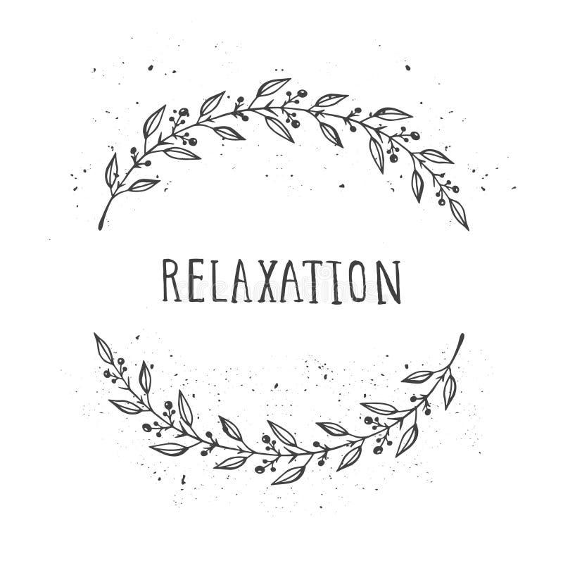 Wektorowa ręka rysująca ilustracja teksta relaks i kwiecista round rama royalty ilustracja