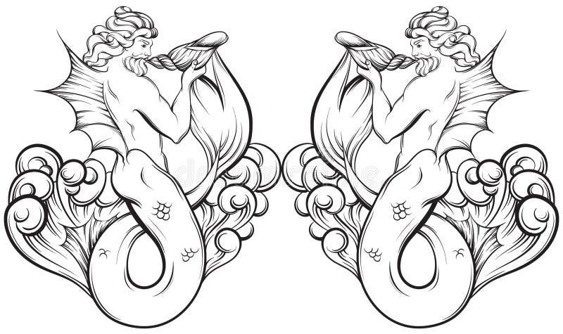 Wektorowa ręka rysująca ilustracja Triton w realistycznym kreskowym stylu ilustracja wektor