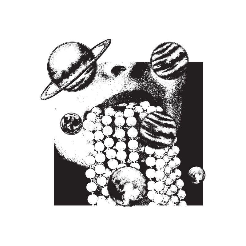 Wektorowa ręka rysująca ilustracja usta z koralikiem i planety robić w pointylizmu projektujemy royalty ilustracja