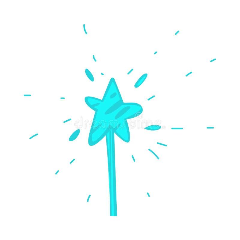 Wektorowa ręka rysująca kreskówki magiczna różdżka z gwiazdą ilustracja wektor