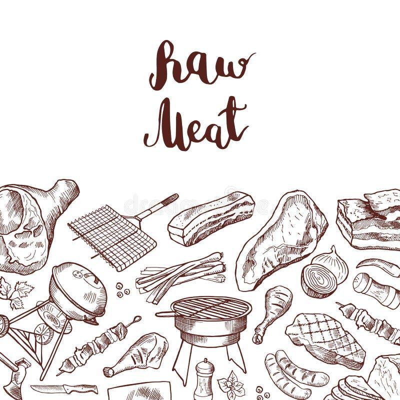 Wektorowa ręka rysująca mięsna elementu tła ilustracja z literowaniem ilustracji
