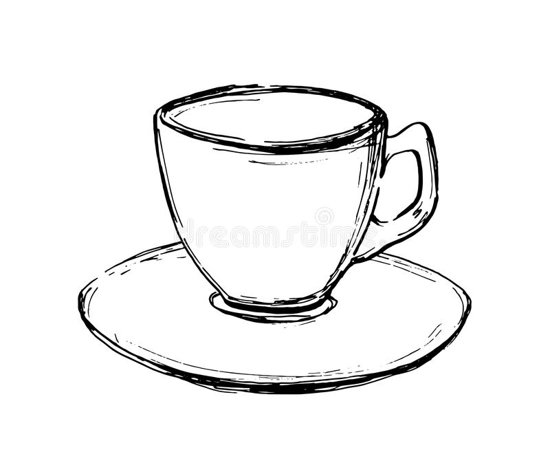 Wektorowa ręka rysująca nakreślenie filiżanka Ilustracja dla projekta, druku lub tła, ilustracji