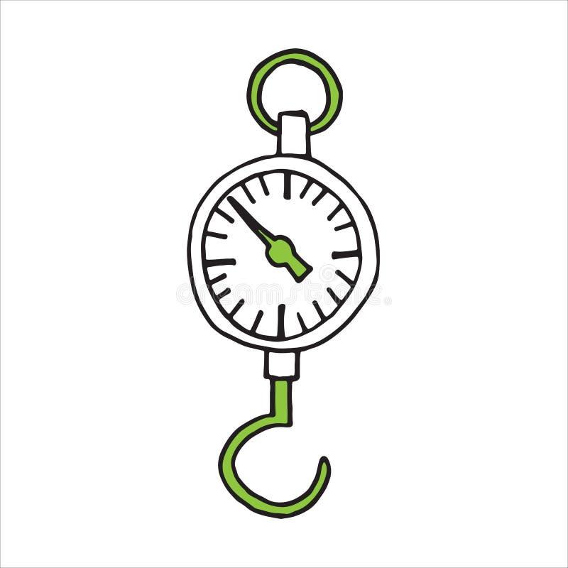 Wektorowa ręka rysująca nakreślenie fizyki dynamometru ikona ilustracji
