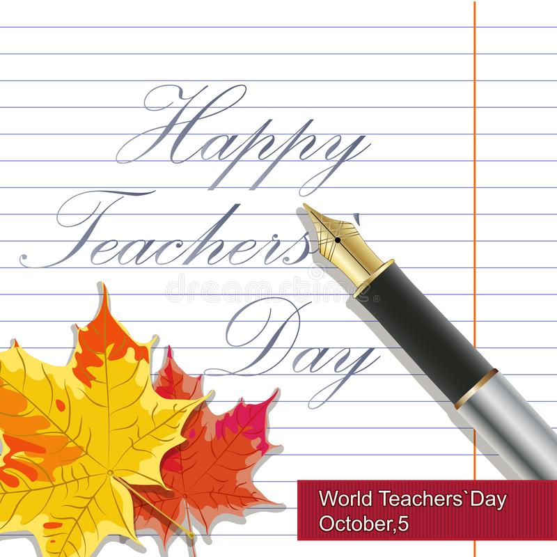 Wektorowa ręka rysująca nauczyciela dnia literowania powitań etykietka z realistycznymi papierowymi stronami, ołówki i - szczęśli ilustracji
