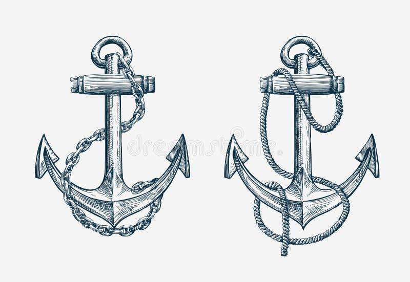 Wektorowa ręka rysująca nautyczna kotwica Rocznika nakreślenia elementu statek, podróż royalty ilustracja