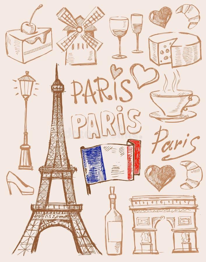 Wektorowa ręka rysująca Paris ilustracja royalty ilustracja