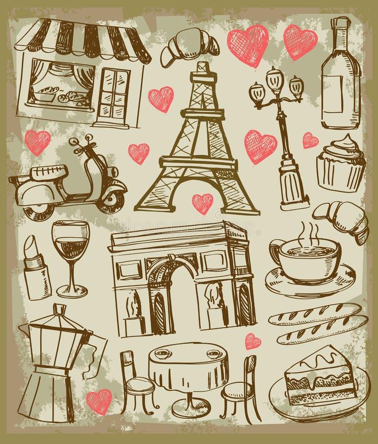 Wektorowa ręka rysująca Paris ilustracja ilustracja wektor