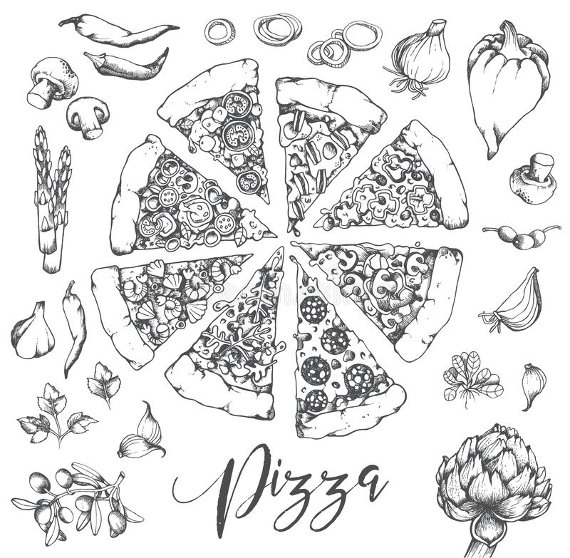 Wektorowa ręka rysująca pizzy ilustracja ilustracji