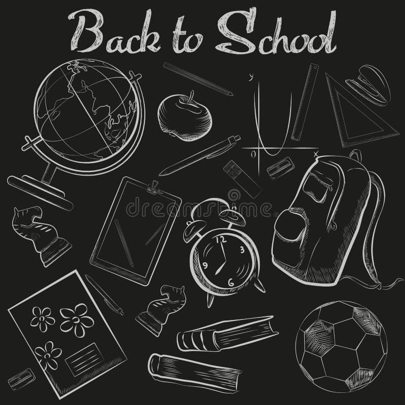 Wektorowa ręka Rysująca szkoły kredy nakreślenia chalkboard doodle kolekcja tylna szkoły ilustracja wektor