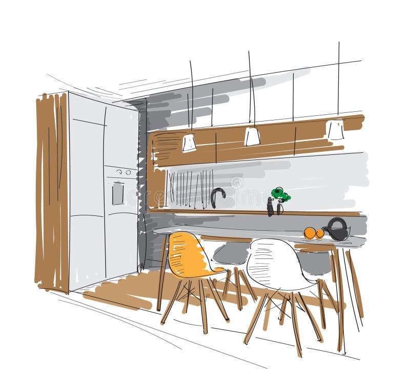 Wektorowa ręka rysująca wewnętrznego projekta ilustracja kuchenny jadalnia meble nakreślenie ilustracja wektor
