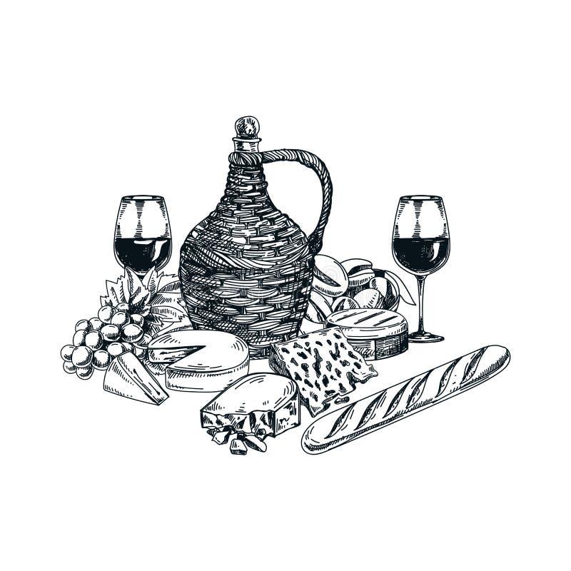 Wektorowa ręka rysująca wina i sera ilustracja royalty ilustracja