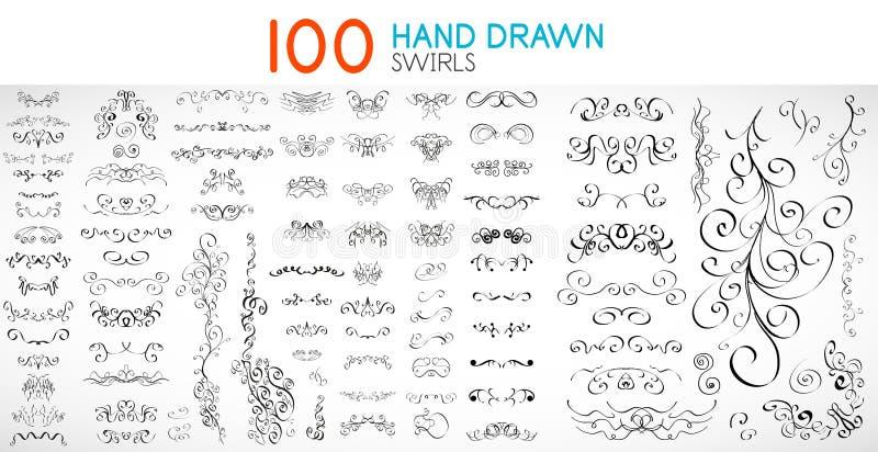 Wektorowa ręka rysująca wiruje i krzywy projektują elementy ilustracja wektor