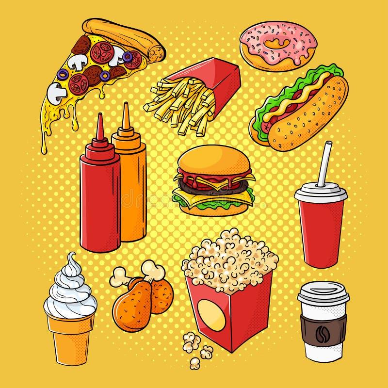 Wektorowa ręka rysująca wystrzał sztuka ustawiająca fast food royalty ilustracja