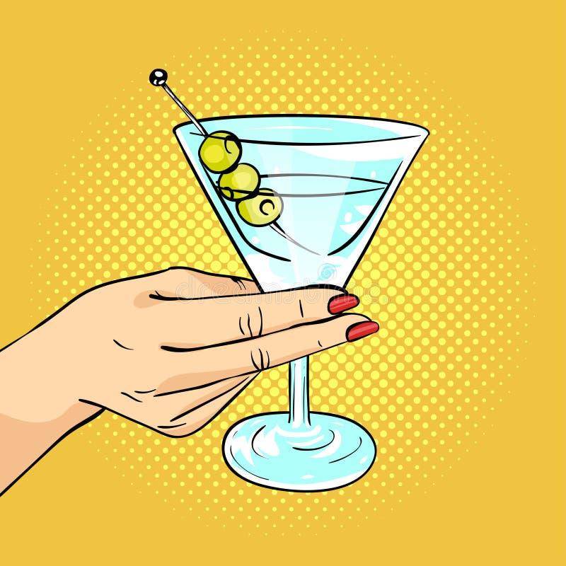 Wektorowa ręka rysująca wystrzał sztuki ilustracja trzyma Martini szklany kobiety ręka ilustracja wektor