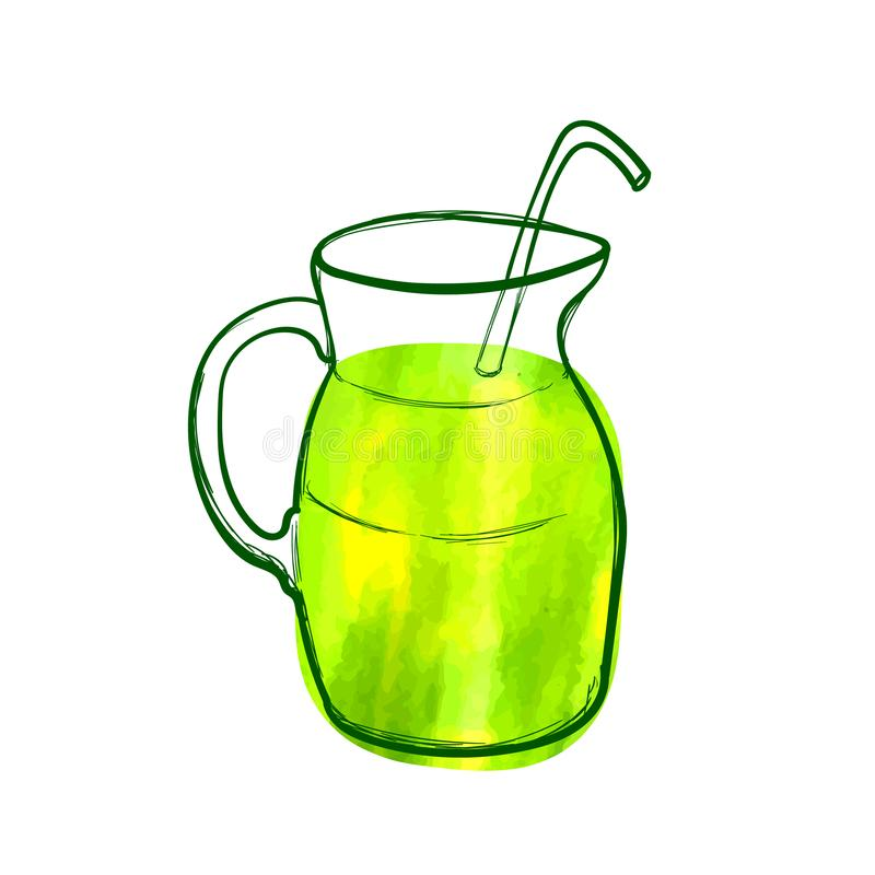 Wektorowa ręka Rysująca Zielona koktajl ikona, akwarela obraz, Zielony Jaskrawy kolor, przedmiot Odizolowywający, Zdrowi Foods ilustracji