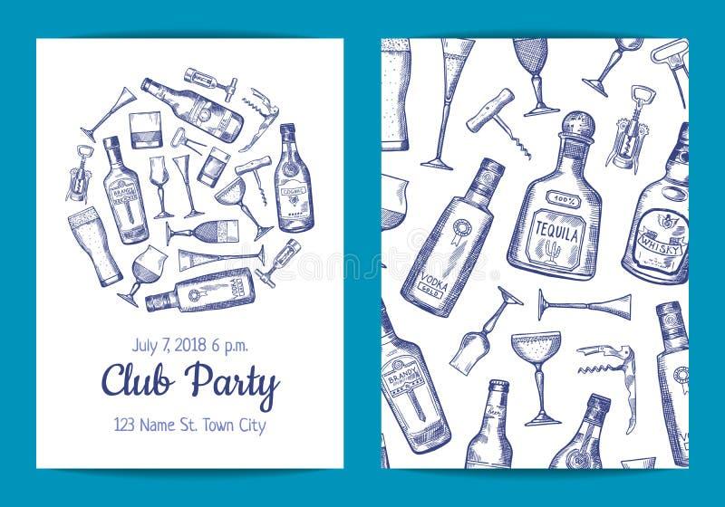 Wektorowa ręka rysujący alkoholu napoju szkła i butelki royalty ilustracja