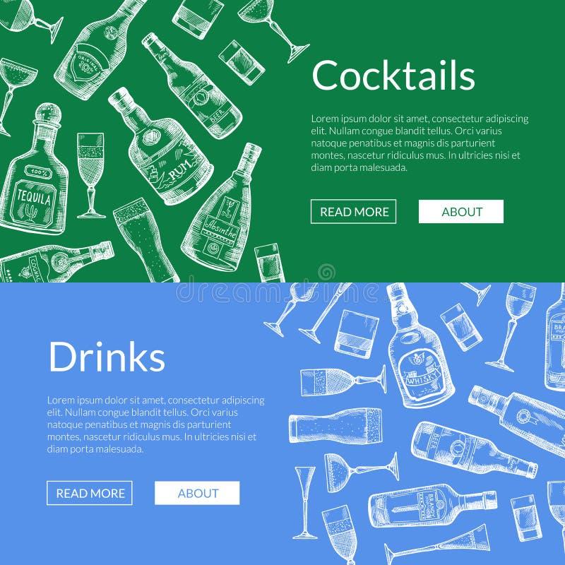 Wektorowa ręka rysujący alkoholu napoju szkieł i butelek sztandary ilustracyjni ilustracji