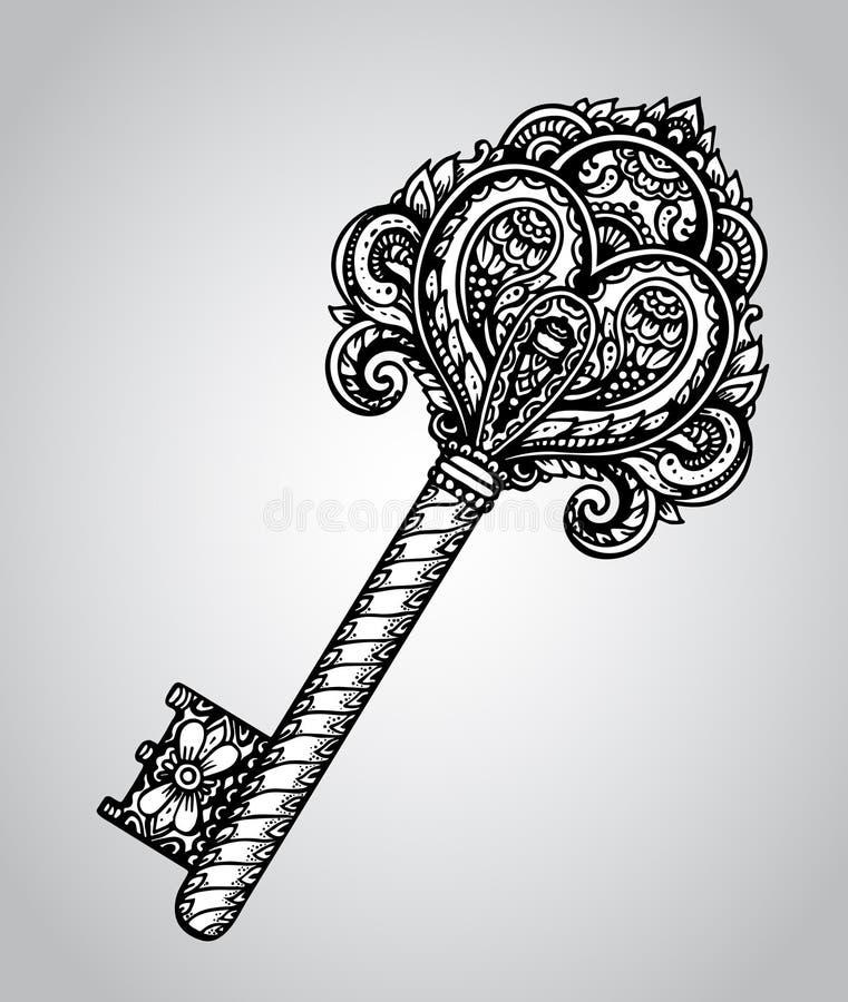 Wektorowa ręka rysujący antykwarski ozdobny klucz ilustracji
