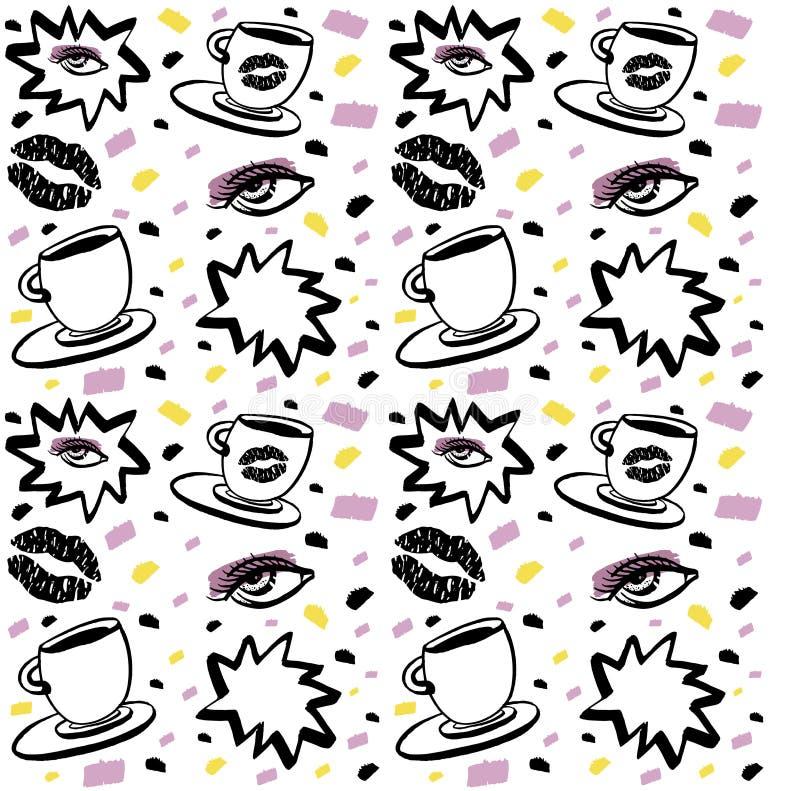 Wektorowa ręka rysujący atramentu bezszwowy wzór z kobiety okiem, zamkniętymi oczami i filiżanką z pomadką, Czerń, purpury i kolo ilustracja wektor