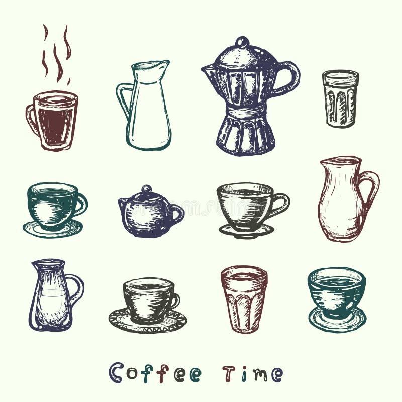 Wektorowa ręka rysujący atramentu kawowy temat ustawia odosobnionego na białym tle royalty ilustracja