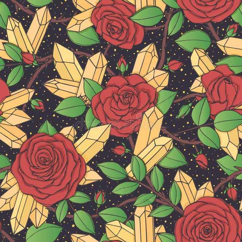 Wektorowa ręka rysujący bezszwowy wzór czerwieni róża kwitnie z pączkami, liśćmi, cierniowatymi trzonami i kryształami na czarnym ilustracja wektor