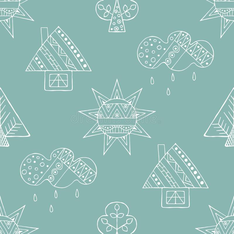 Wektorowa ręka rysujący bezszwowy wzór, dekoracyjny stylizowany dziecięcy dom, drzewo, słońce, chmura, podeszczowy Kreskowego rys ilustracja wektor